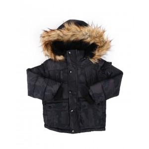 hooded parka jacket w/ faux fur trim (4-7)