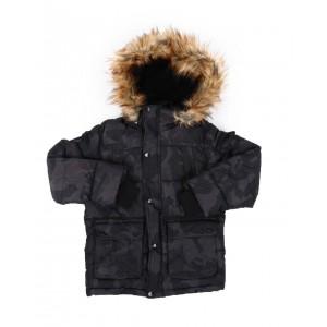 hooded parka jacket w/ faux fur trim (8-20)