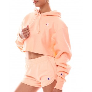 cropped reverse weave crew neck pullover hood