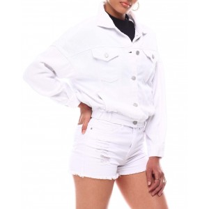 80s style jacket w.elastic hem