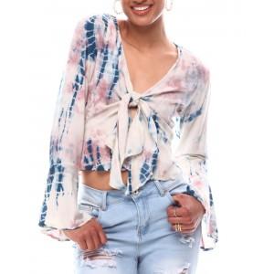 long sleeve tie front blouse w/peplum