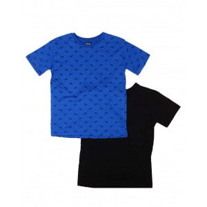 2 pack solid & printed crew neck t-shirts (2t-4t)