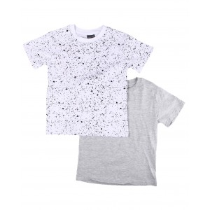 2 pack solid & printed crew neck t-shirts (4-7)