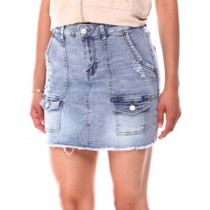 pork chop distressed cargo denim skirt