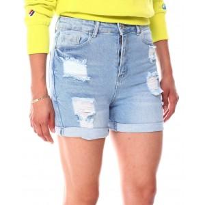 distressed high waist roll cuff shorts