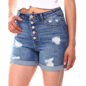 expose buttons distressed roll cuff shorts
