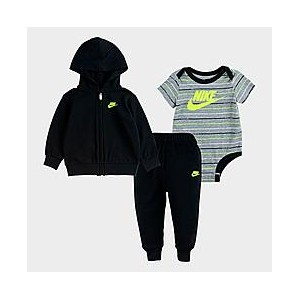 Boys Infant Nike Striped 3-Piece Full-Zip Hoodie and Jogger Pants Set