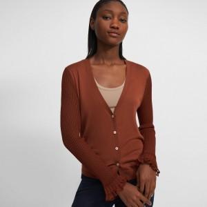 Sheer-Sleeve Cardigan in Wool-Viscose Crepe