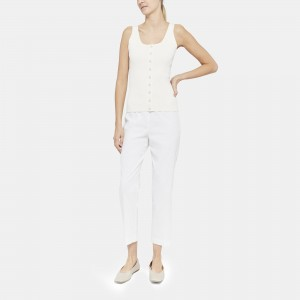 Button-Up Tank in Compact Crepe