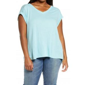 V-Neck Roll Cuff High/Low T-Shirt