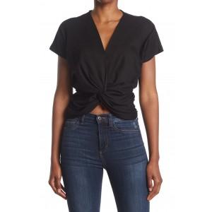V-Neck Short Sleeve Knot T-Shirt