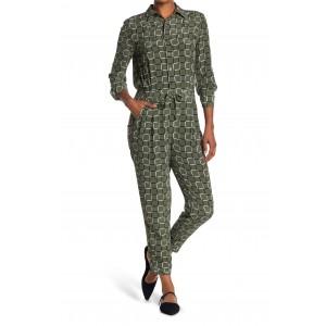Armeria Windowpane Long Sleeve Silk Jumpsuit