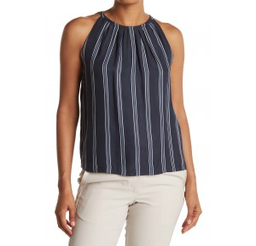 Sleeveless Stripe Pleat Neck Top