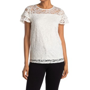Stretch Lace Paisley Short Sleeve Top