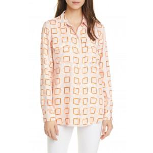 Slim Geometric Print Long Sleeve Blouse