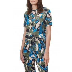 Saxonne Tropical Floral Print Silk Top