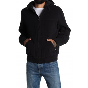 Faux Shearling Lined Hooded Bomber Jacket