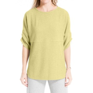 Ruched Sleeve Rib Knit Pullover