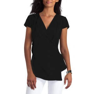 Short Sleeve Ruched Faux Wrap Top