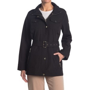 Belted Soft Shell Hooded Jacket