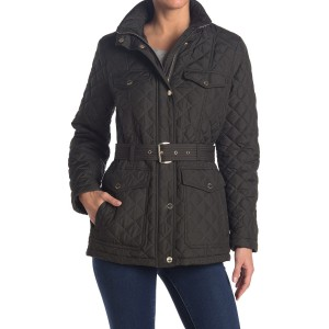 Belted Diamond Quilted Hooded Jacket