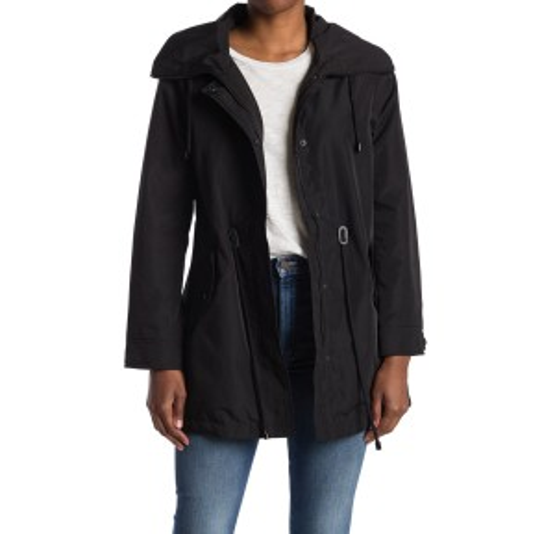 Hooded Drawstring Waist Anorak Jacket