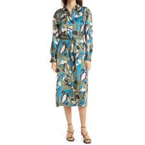 Mannon Belted Long Sleeve Silk Shirtdress