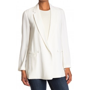 Deconstructed Stripe Double Breasted Notch Lapel Blazer
