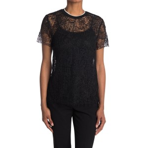 Corded Lace Short Sleeve Top