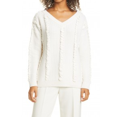 Woven Detail Wool Blend Sweater