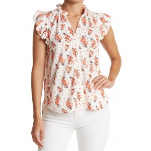 Ruffle Trim Neck Short Sleeve Front Button Floral Print Top