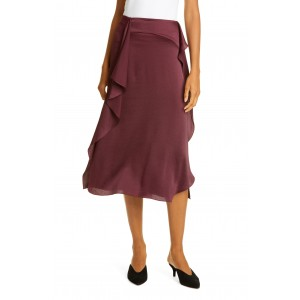 SATIN RUFFLE MIDI SKIRT