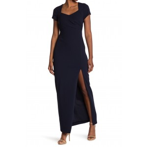 Slit Cap Sleeve Crepe Gown
