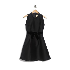 Velvet Bow Fit and Flare Dress