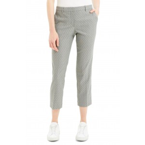Textured Check Crop Wool Blend Trousers