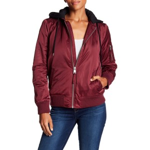 Drawstring Hooded Bomber Jacket