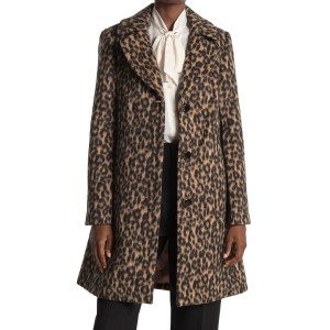 notch collar wool blend coat