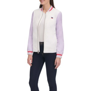 Colorblock Stripe Trim Bomber Jacket