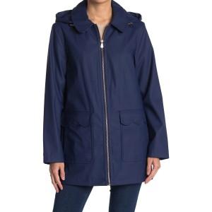 hooded matte rain coat