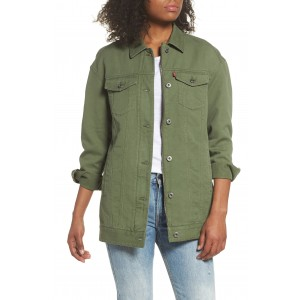 Oversized Long Cotton Trucker Jacket