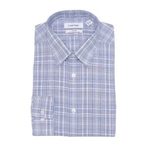 Plaid Print Stretch Non-Iron Slim Fit Dress Shirt