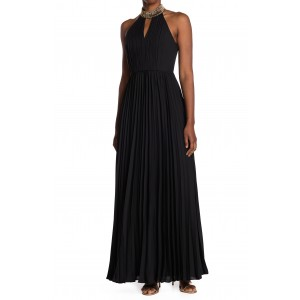 Pleated Embellished Neck Gown
