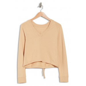 V-Neck Drawstring Cropped Sweatshirt
