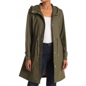 Hooded Drawstring Waist Raincoat