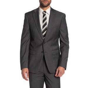 Grey Sharkskin Two Button Notch Lapel Slim Fit Suit Separates Jacket