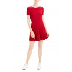 Pleated Short Sleeve Dress
