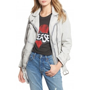 Oversize Faux Shearling Trim Denim Jacket