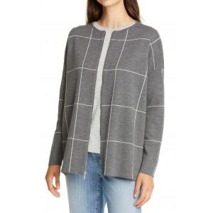 Windowpane Check Zip Merino Wool Cardigan
