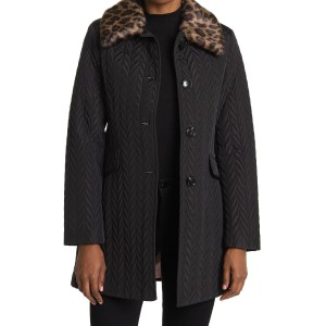 quilted faux fur collar jacket