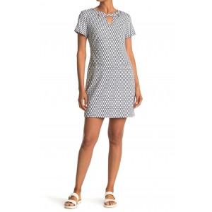 Short Sleeve Rope Print Scuba Dress